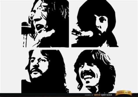 imagenes en blanco y negro de los beatles the beatles face silhouettes vector free download