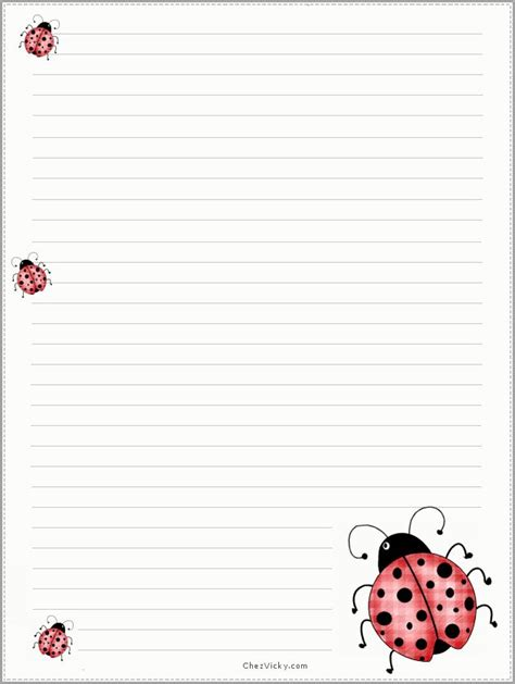 printable ladybug stationery papier a lettre a imprimer colorful and cute paper for