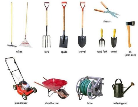garden tools visual vocab everyday actions weather