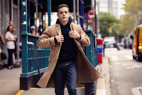 Simply Robot Sweater Navy rami malek of mr robot is ready to start dressing