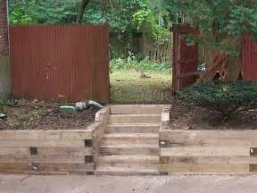 Using Landscape Timbers For Retaining Wall Landscape Timber Retaining Wall Steps Landscaping