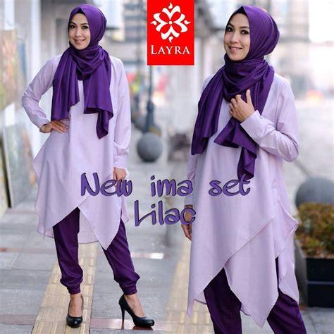Rainbow Tunik Blouse Panjang Muslim Big Size Mermaid Blus new ima lilac baju muslim gamis modern
