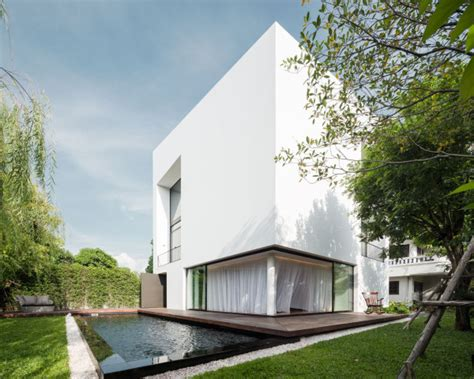 white modern architecture modern white house with integrated angles and corners