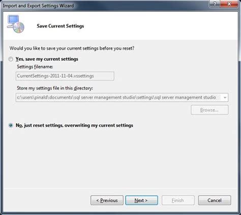reset visual studio keyboard settings sql server ssms 2012 reset keyboard shortcuts to default