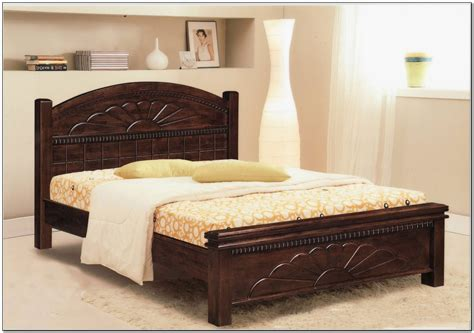 wooden bed headboard carved dark brown stained wooden bed frame with curved