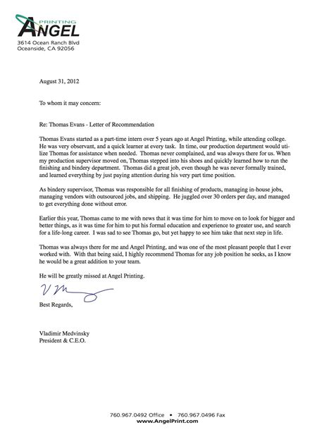 Letters Of Recommendation Exles Of Tips For Writing A Letter Of Recommendation