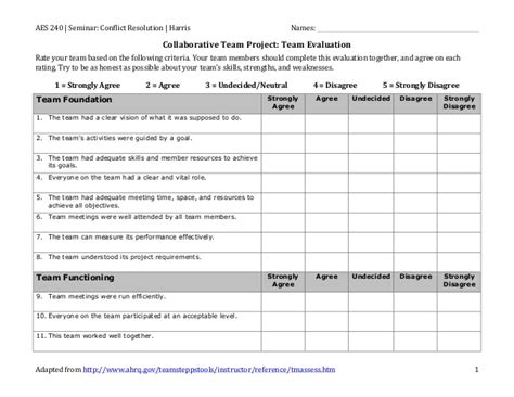 Template For Service Level Agreement team evaluation