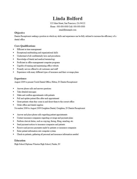 Receptionist Resume Sle Templates Dental Receptionist Resume Exle 28 Images Sle