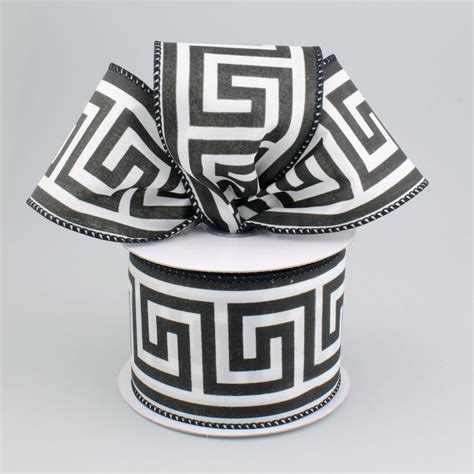 Black Pattern Ribbon   2 5 quot greek key pattern ribbon black white 10 yards