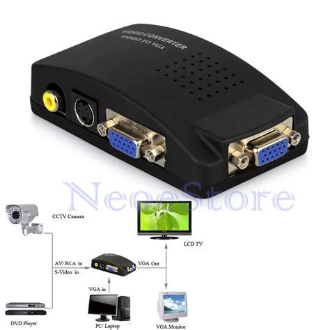 Monitor Vga hdtv cctv dvd av composite rca s to vga monitor pc adapter converter ebay