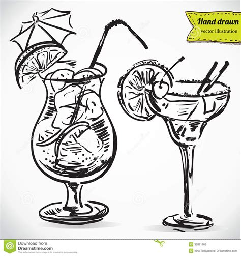 cocktail sketch hand drawn illustration of cocktail royalty free stock