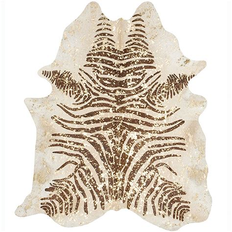 metallic brown zebra cowhide on beige with gold