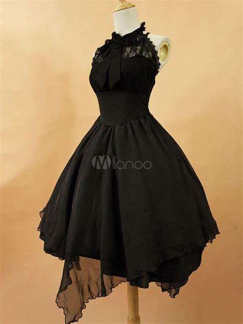 Jsk 3107 Size 27 30 Black dress jsk the white chiffon lace bow haltered lace up irregular jumper