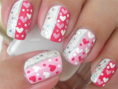 nail art tutorial valentines how to paint sparkly valentine nail art manicure step by