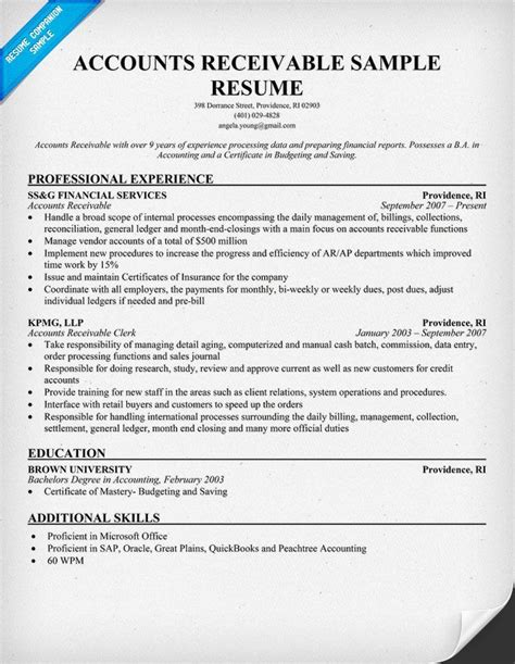 Accounts Receivable Resume by Accounts Receivable Resume Exle Resumecompanion