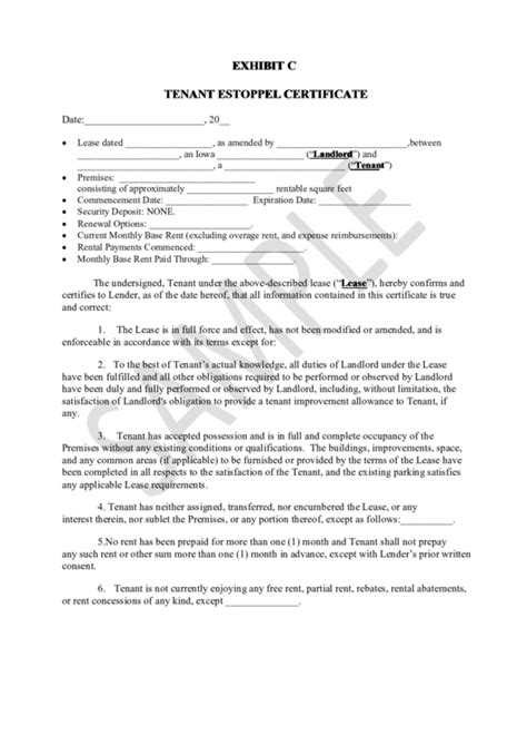 certification letter for tenant top tenant estoppel certificate form templates free to