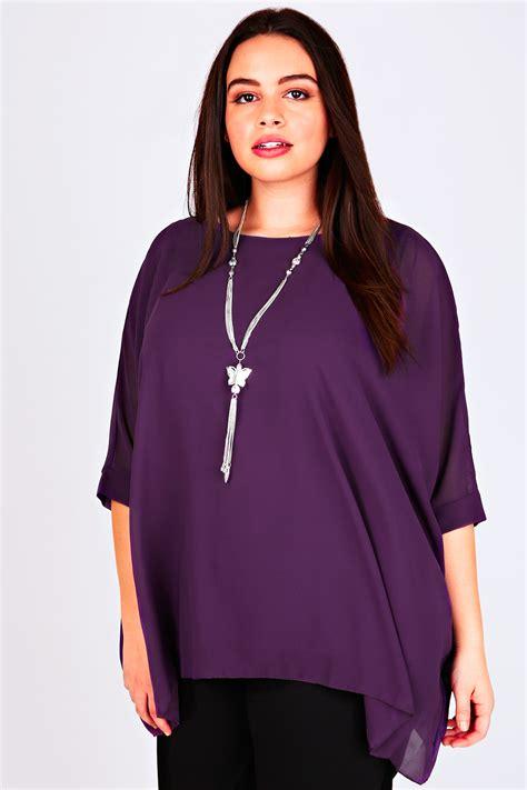 Batwing Purple Dress purple batwing sleeve chiffon top with necklace plus size