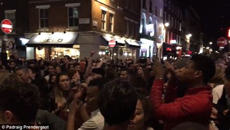old man dancing to house music oap among dancers at london s soho street rave which was shut down by police daily