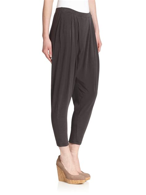 draped pants weekend by maxmara draped jersey pants in gray lyst