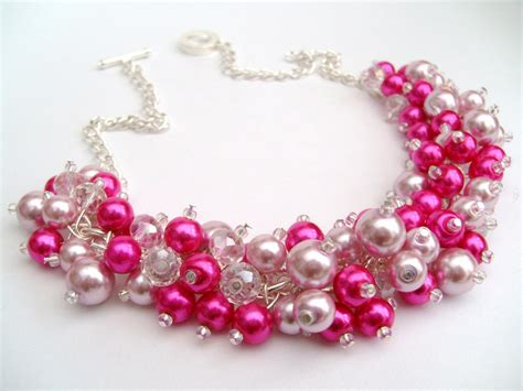 pink pearl beaded necklace pink bridesmaid jewelry