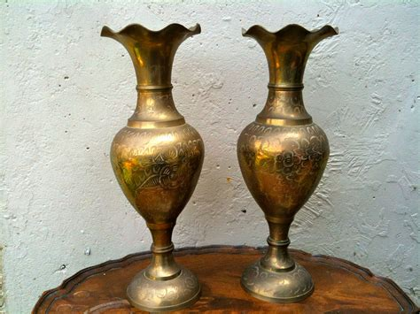 Indian Home Decor Items by Vintage Indian Tall Pair Of Brass Vases English By