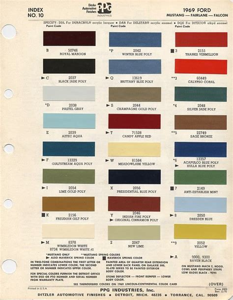 auto paint codes 1969 ford mustang color chart with