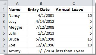 calculate annual leave  excel