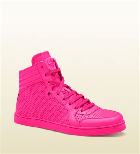 gucci neon pink leather hightop sneakers in pink for