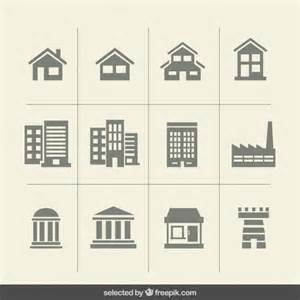 building monochrome icons vector free download