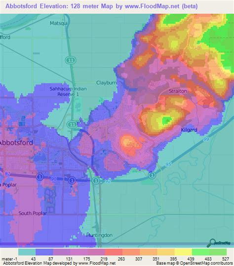 elevation map of usa and canada elevation of abbotsford canada elevation map topography