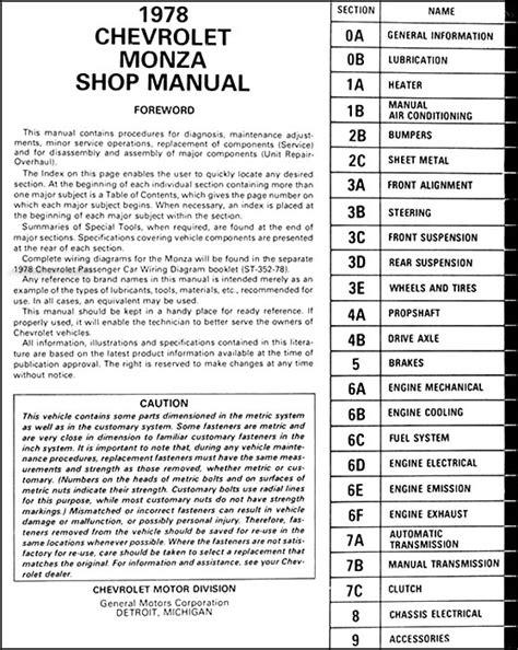 car repair manuals online pdf 1975 chevrolet monza parking system 1978 chevy monza repair shop manual original