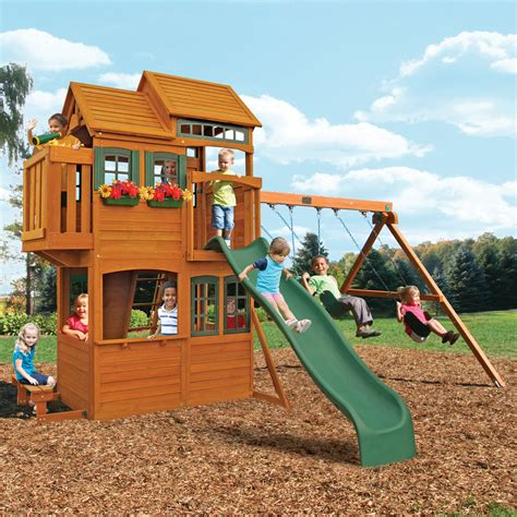 big backyard somerset lodge swing set swing sets at