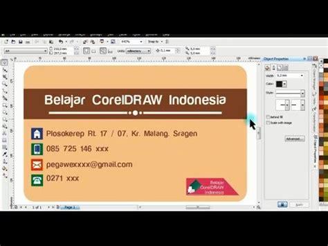 desain kartu nama coreldraw x4 desain kartu nama sederhana di coreldraw x4 youtube