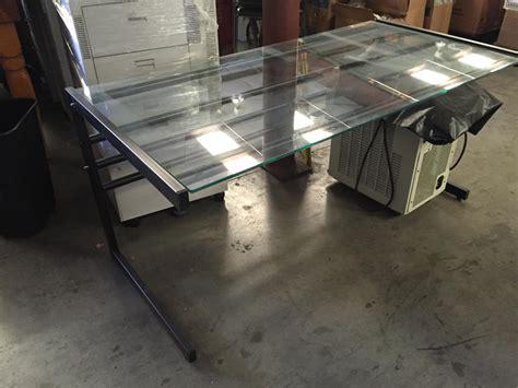 Glass Top Metal Desk by Lot 70 Glass Top Metal Frame Computer Desk Wirebids