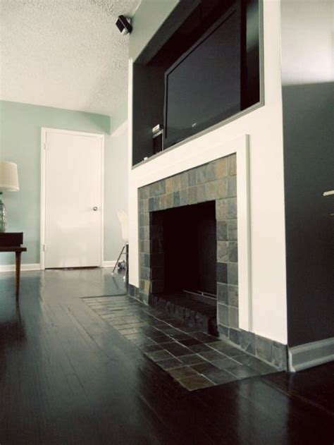 fireplace makeover removing  brick hearth  retiling