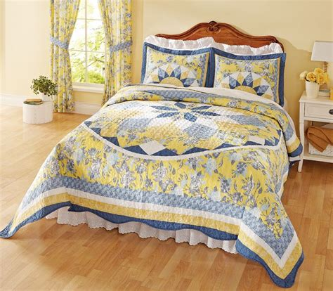 blue yellow comforter patchwork quilted bedspread french star blue yellow this