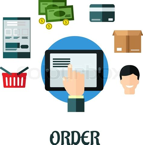 tutorial online shop order and shop online flat concept showing a hand ordering
