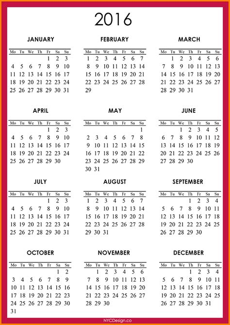 calendar 2016 only printable yearly printable yearly calendar 2016 2016 calendar red 001 png