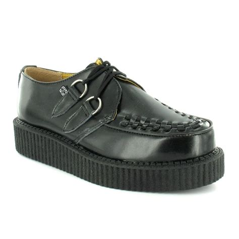 tuk a6806 mens leather 2 eyelet creeper shoes black