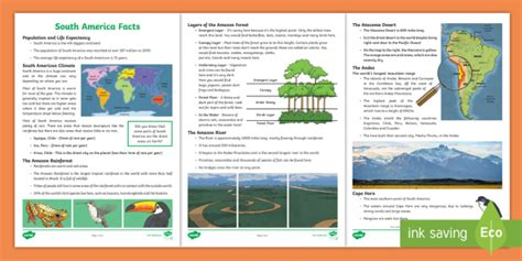 ks2 south america facts worksheet activity sheet