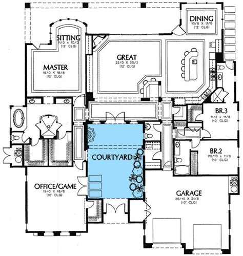 center courtyard house plans rear courtyard house plans plan w16359md mediterranean florida european southwest house