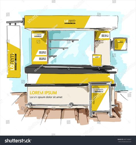 exhibition stand design template yellow exhibition stand design booth template stock vector