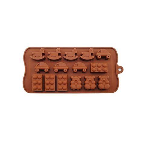 Moules Silicone Originaux plaque de 15 moules silicone patisserie originaux marron