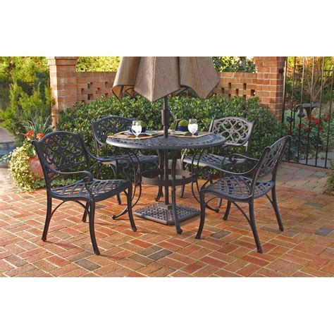 Home Styles Black 5 Pc 48 Quot Round Outdoor Dining Set The 5 Pc Patio Dining Set