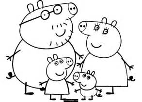 Family and peppa pig coloring page for kids printable peppa pig and