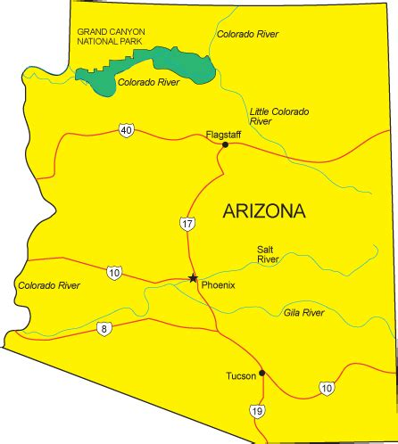 arizona state on us map az map arizona state map