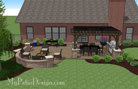 Traditional Patio Design With Seating Wall And Pergola My Patio Design
