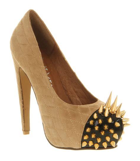 gold high heel wedges womens jeffrey cbell battle spike high heel suede