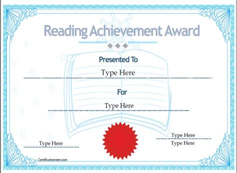 reading certificate templates education certificates certificate of reading