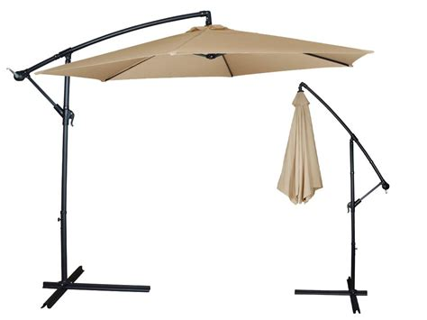 10ft Outdoor Patio Sun Shade Umbrella Cantilever Hanging Patio Umbrella Canopy